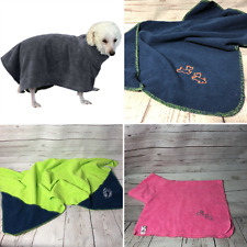 Dog pet towel in thick bath toweling fabric with hand pockets blanket gift set