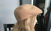 Vtg Cuffley Cap Stetson Newsboy Cabbie Hat Camel Tan 100% Wool Water Repellent M