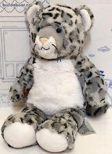 Build A Bear Snow Leopard Blue Silver Gray Plush Roar Doll Stuffed Animal Cat 16