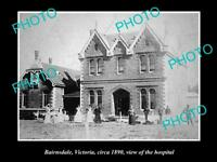 OLD LARGE HISTORIC PHOTO OF BAIRNSDALE VICTORIA, VIEW OF THE HOSPITAL c1890