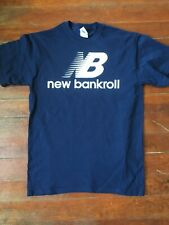 New Bankroll New Balance Slogan mock NAVY shirt mens size S, M, L, XL
