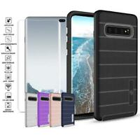 For Samsung Galaxy S10/S10 Plus Non Slip Grip Hybrid Case+Glass Screen Protector