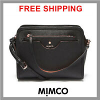 Mimco Phenomena Hip Hand Bag Saffiano Leather Handbag Black Crossbody Genuine DF
