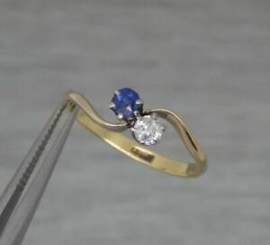 Beautiful Edwardian Ladies 18ct Yellow Gold Sapphire & Diamond Twist Ring