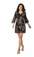 Table 8 3/4 Bell sleeve Navy Floral V neck lined dress 18 desk to dinner party