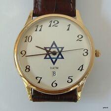 Israel magen david golden quartz watch judaism judaica date water women men nib