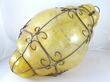 MURANO SEGUSO Huge Vintage Caged Lantern Pendant Chandelier hand blowned 60's