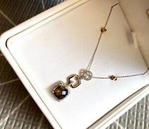 9ct Gold Necklace Smoky Quartz with Diamonds