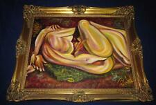 "Lesbian Erotic Art, Oil Painting, ""Hot Guts of Passion"" 1st Oil by Particia Wahl"