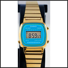 Casio LA-670WGA-2 Ladies Digital Watch Gold Steel Band Blue Dial Retro New