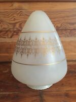 Vintage Mid Century Frosted Glass With Gold Decoration Pendant Light Shade C