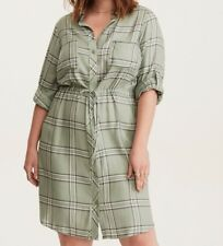 6b6022211c9 Torrid Olive Plaid Drawstring Shirt Dress 0X Large 12  58937