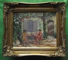 "Provence Patio :  Original Impressionist Oil Painting : David Baxter  10"" X 8"""