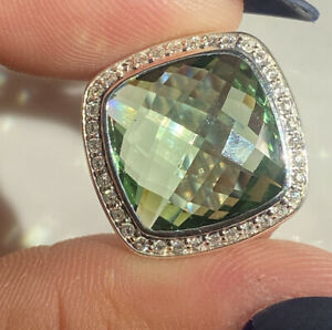 David Yurman Sterling Silver 14mm  Prasiolite Diamond Albion Ring Size 8.5