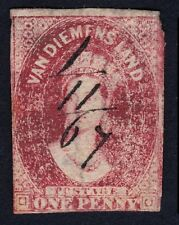 TASMANIA 1857 1d Sc#11b pen cancelled USED @E2786