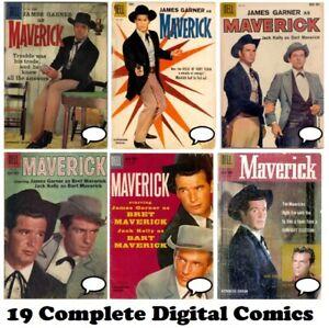 MAVERICK Dell comic books 19 issues FULL RUN 1958 James Garner on DVD