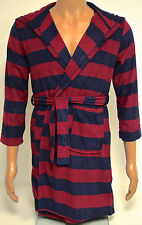 Komar Kids Boys Navy/Burgundy Stripe Plush Dressing Gown BNWT - S Age 7-8 Years