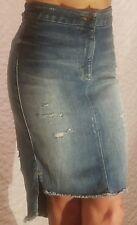 GUESS Medium Blue Denim Knee Length Skirt Torn Distressed Size 24 Retail