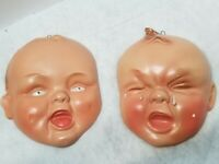 VINTAGE RARE PAIR OF HANDMADE BABY INFANT FACES SMILING CRYING CERAMIC POTTERY