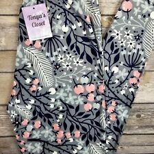 PLUS Floral Leggings Navy Blue Pink Gray White Buttery Soft Curvy 10-18 TC