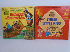 Vintage Lot Disney Records with Storybook 3 Little Pigs & Bedknobs & Broomsticks