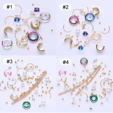 Hollow Round Rhinestone Pearl Beads Metal Stones Chain Nail Art 3D Decoration