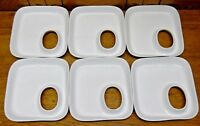 "6 Interesting Porcelain Snack Plates w/ Thumb ? Hole - 7"" by 6 1/2"""