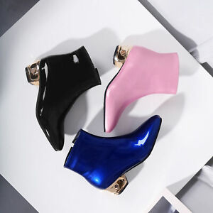 Women Chunky Boots Patent Leather Square Toe Low Heels Sexy Side Zip Party Shoes