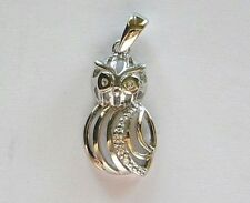 """Sterling silver Owl  pendant / charm 1"""" long from tip to tip Box included"""