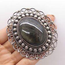 Vtg 925 Silver Real Large Obsidian Gemstone Locket Pendant Pin Brooch