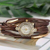 Women Bracelet Watch Causal Quartz Wristwatch Rhinestone Leather Bangle Watch