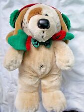 1988 Dakin Plush Dog with Red & Green Ear Muffs and Mittens