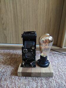 Camera Lamp Industrial Retro Vintage Upcycled Black Compur Folding 620 Film LED