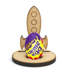 Wooden MDF Space Rocket Craft Easter Creme Egg Holder Stand Perfect Easter Gift