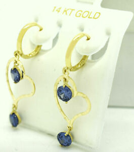 Deep tone TANZANITE 2.16 Cts DANGLING EARRINGS 14K YELLOW GOLD *New With Tag*