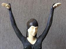 Gorgeous DECO Demétre CHIPARUS Female Bronze Porcelain DANCER Statue MARBLE Base