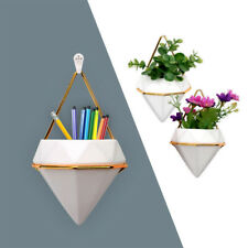 2x White Simple Trigg Hanging Planter Vase & Geometric Wall Decor Container USA