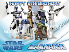 STAR WARS Edible ICING Image Birthday CAKE Topper Decoration FREE SHIPPING
