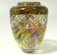 HAND BLOWN GLASS VASE, DIRWOOD, COMPLEX INCALMO & CANE DESIGN, END OF DAY GLASS