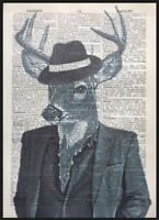 Vintage Stag Deer Print Antique Dictionary Book Page Wall Art Animal In Clothes