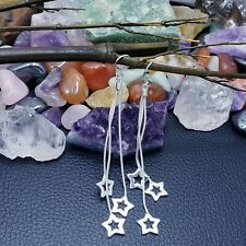 LONG EARRINGS 4 IN. DANGLING STARS .925 STERLING SILVER PLATED PARTY STYLE