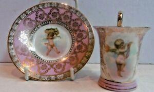 Antique Crown Saxe Porcelain Cup & Saucer Cherub Putti Pink
