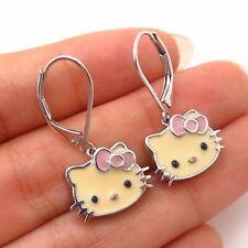 925 Sterling Silver Enamel Hello Kitty Drop Earrings