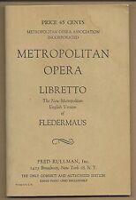 Metropolitan Opera Libretto, Fledermaus Playbill, Program (1950)