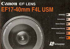 Canon Eos 35mm Slr Camera Ef 17-40mm f/4L Usm Lens Instruction Manual