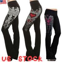 Women Gothic Punk Leggings High Waist Skinny Pants Casual Slim Fit Trousers US