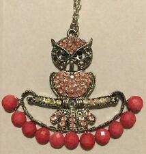 PINK OWL PENDANT WITH NECKLACE fashion Jewelry