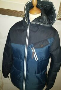 """TWISTED SOUL MENS  FABULOUS PUFFER RAIN COAT NAVY WITH HOOD.SIZE XS 38""""CHEST"""