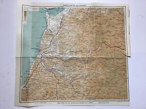 Aberystwyth and District, 1935 Vintage County Map, Bartholomew, Wales, Original
