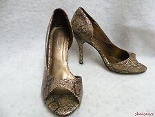 Shoedazzle Chance D'Orsay Open Toe Pumps 8M Gold/Brown/Black Snakeskin Look EC
